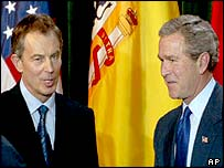 Tony Blair and George W Bush at the weekend's Azores summit