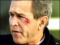George W Bush after pretzel incident