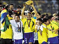 Brazilian captain Cafu lifts the World Cup after Brazil beat Germany in 2002