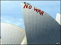 A 'no-war' sign is painted on top of the Sydney Opera House