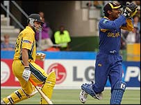 Adam Gilchrist was caught behind by  Kumar Sangakkara