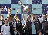Oxford celebrate victory in the 2002 Boat Race