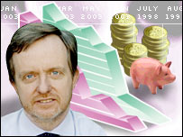 Mark Dampier and a piggy bank
