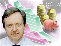 Mark Dampier and a piggy bank