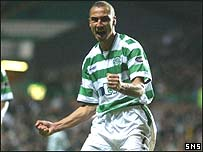 Henrik Larsson celebrates another goal for Celtic