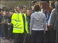 Schoolchildren protesting
