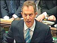 UK Prime Minister Tony Blair in Parliament