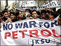 Anti-war protesters in Indian-administered Kashmir