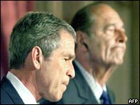 US President George W Bush (left) and French President Jacques Chirac