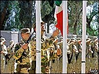 Italian troops at the Salerno base