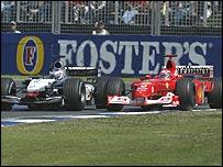 Kimi Raikkonen and Michael Schumacher battle for the lead in the Australian Grand Prix