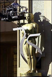 A giant Oscar statuette is moved into place by workers