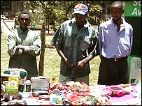 Men hawking goods in Nairobi