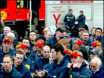Firefighters outside November's CBI conference