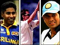 (Left to right) Chaminda Vaas, Jon Davison and Sachin Tendulkar are all contenders for moment of the World Cup