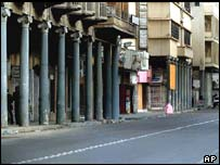 Rashid Street, usually one of the busiest commercial districts in Baghdad