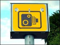 Yellow roadside speed camera