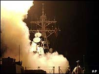 Tomahawk missiles are launched from the USS Donald Cook
