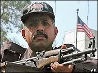 Police guard the US consulate in Karachi