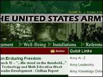 Screengrab of US Army website, BBC