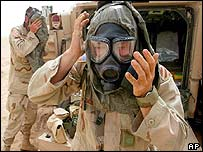 US soldier dons a gas mask during a missile alert in northern Kuwait