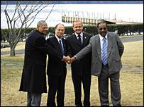 Peace negotiators in Hakone, Japan