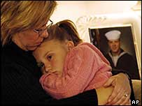 American woman comforts her daughter