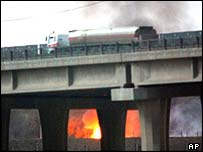 A bridge on fire in Baghdad