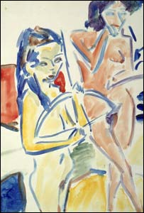 Kirchner, Nude Couple in Studio, 1909