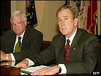 House Speaker Dennis Hastert (left) with President George W Bush