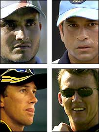 (Clockwise from top left) Sourav Ganguly, Sachin Tendulkar, Brett Lee and Glenn McGrath