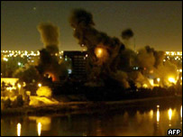 Smoke over Baghdad after Thursday night's attacks