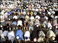 Thai Muslims gathered in Bangkok in November 2001 to protest against the bombing of Afghanistan