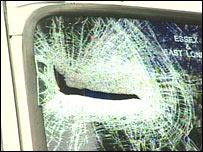 Smashed windscreen
