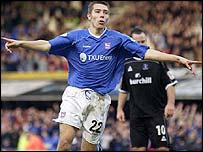 Ipswich Town midfielder Darren Ambrose celebrates scoring against Crystal Palace