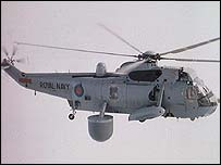 Royal Navy Sea King Airborne helicopter