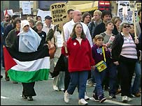 Anti-war protesters marching in Manchester on Saturday