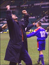 Steve Paterson enjoys the victory at Celtic Park