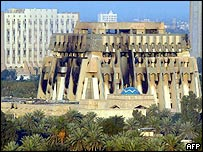 Building in one of Saddam Hussein's presidential compounds blackened by smoke