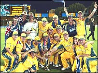 The Aussies celebrate a job well done