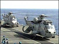 Royal Navy Sea King Airborne Early Warning helicopters