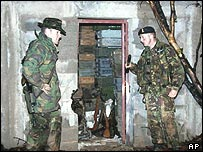 British soldiers discover an arms cache in Kosovo