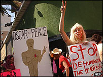 Anti-war protestors at the Oscars