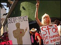 Anti-war protestors at the Oscars
