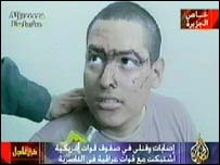 An injured American PoW on al-Jazeera TV