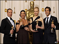 Oscar winners (l to r) Chris Cooper, Catherine Zeta Jones, Nicole Kidman and Adrien Brody