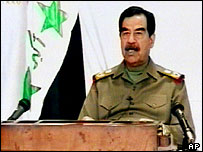 Saddam Hussein speaking on Iraqi television