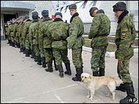Soldiers queuing to vote