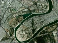 Satellite image of central Baghdad, Space Imaging Middle East