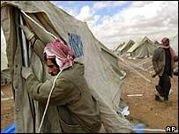 Erecting tents in Jordan
